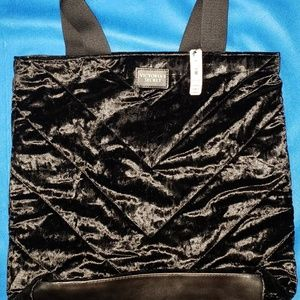 Victoria's Secret Black Velvet Tote Bag 17 Inches